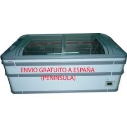 Congelador expositor modelo MIAMI 185  puertas de correderas curvas cristal, usado muy buen estado