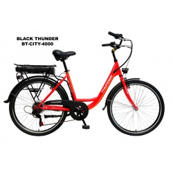 BICICLETA ELECTRICA BT-CITY-4000DV ROJA BLACK THUNDER